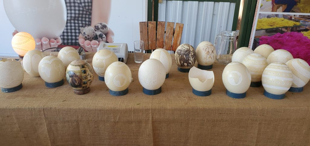 Ostrich Eggs Painted and Carved