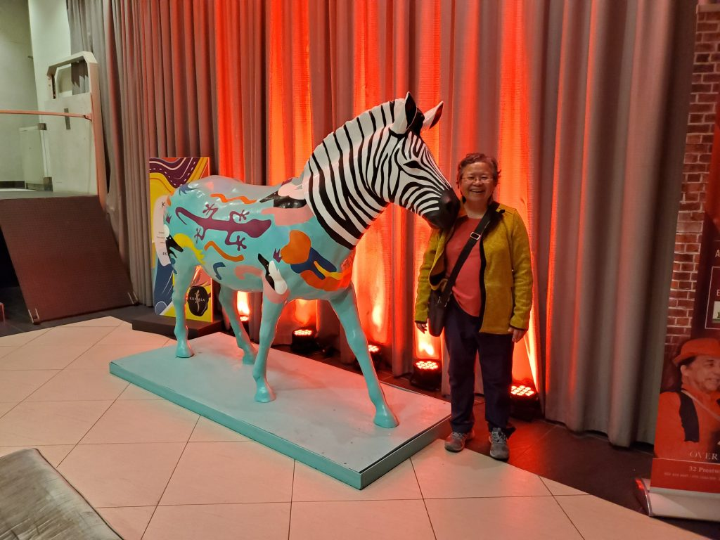 A colorful Zebra to welcome us to Rockwell Hotel and Theater