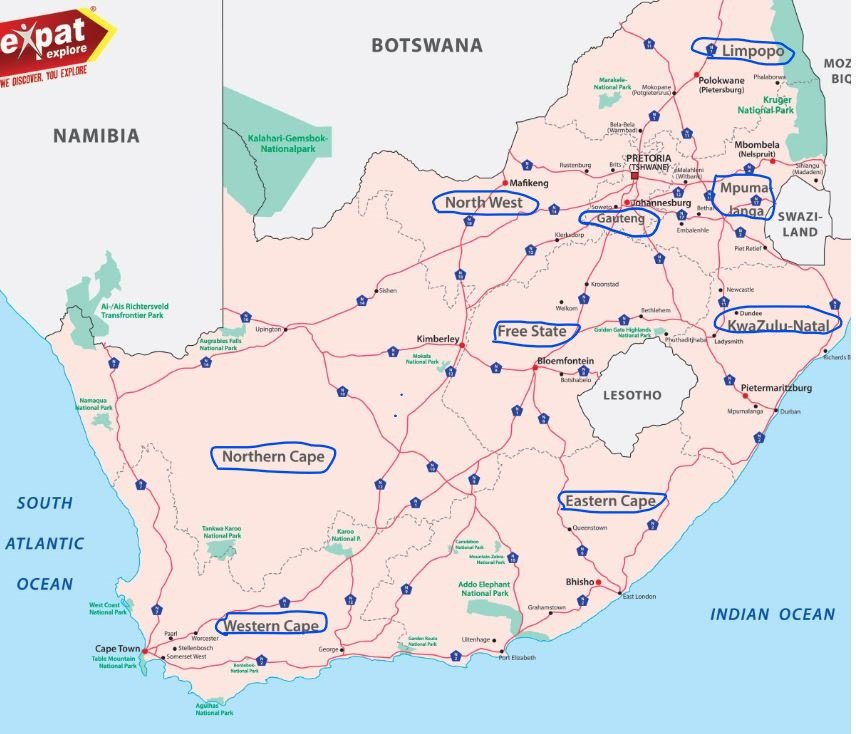 South Africa 9 provinces