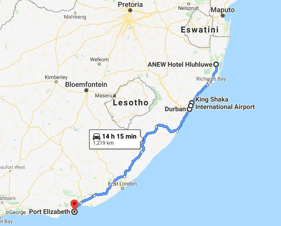 Map Anew Hotel to Durban