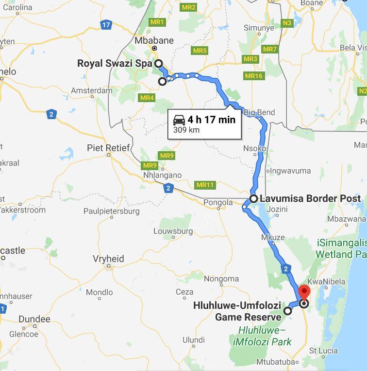 Map Swaziland to SA