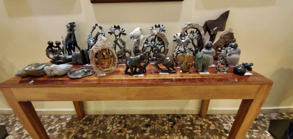 Some beautifully carved stones that were displayed and on sale.
