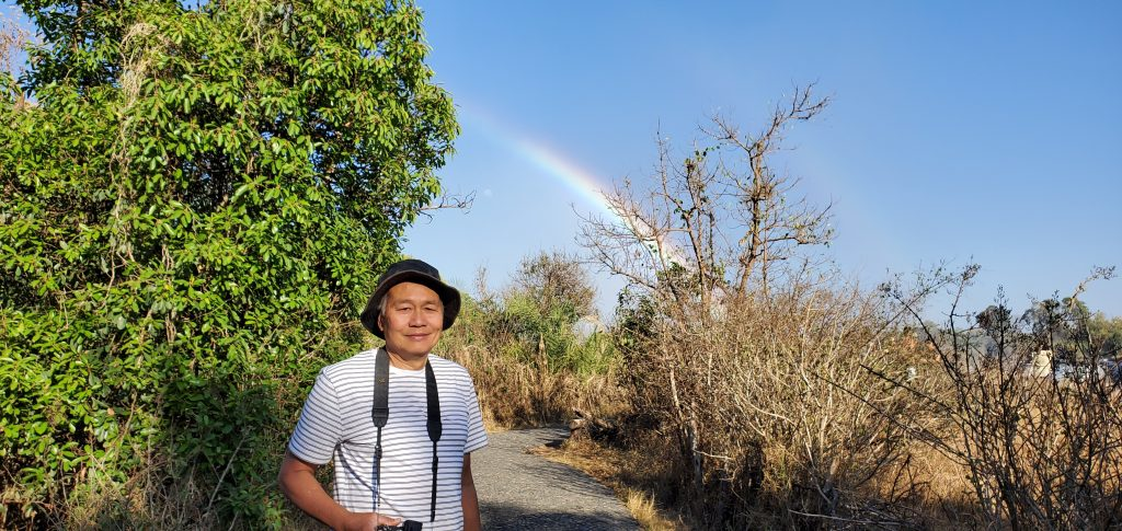 Peter and the rainbow as a backdrop.
